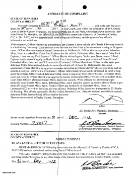 Copy of the original general sessions court affidavit and arrest warrant  for Memphis reporter Jason Miles following an apparent New Year's Eve altercation with police on Beale Street.