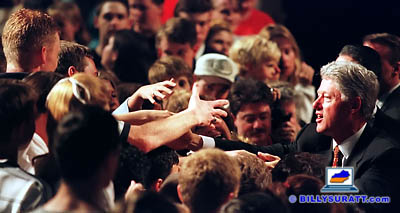 President Bill Clinton works the crowd after delivering a speech about stopping teen smoking on Thursday, April 9, 1998 in the gymnasium of Carroll County High School in Carrollton, Ky. (Apex MediaWire Photo by Billy Suratt)