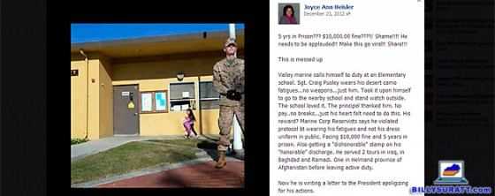 Screen capture of a Facebook meme about former Marine Craig Pusley guarding a California school. Not only is Pusley not facing disciplinary charges from the Marine Corps for wearing fatigues in public instead of a dress uniform, the ex-Marine lied about his rank and service record.