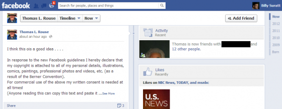 Facebook privacy notice hoax trips up KBA president-elect, as shown in this screen capture of Kentucky Bar Association President-Elect Thomas L. Rouse's public Facebook profile on November 26, 2012. The Erlanger mayor and attorney fell for a Facebook privacy notice copyright hoax meme.