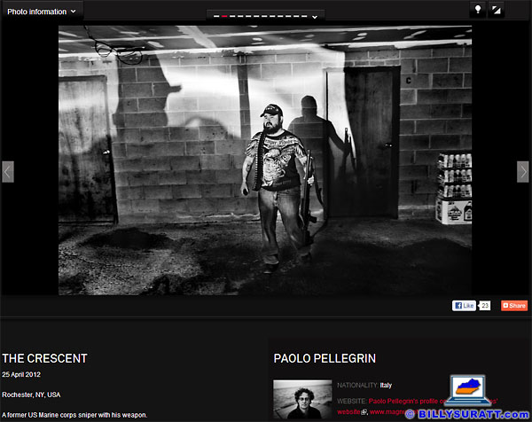 A screen capture from the Word Press Photo Contest website showing Magnum photographer Paolo Pellegrin's controversial award-winning image of photojournalist Shane Keller. (Photo © 2012 Paolo Pellegrin/Magnum Photos)